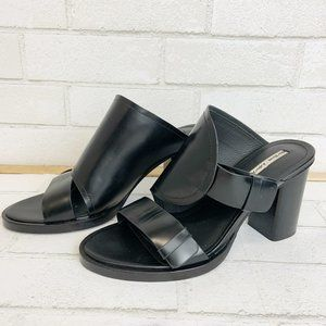 &Other Stories Black Leather Open Toe Heels